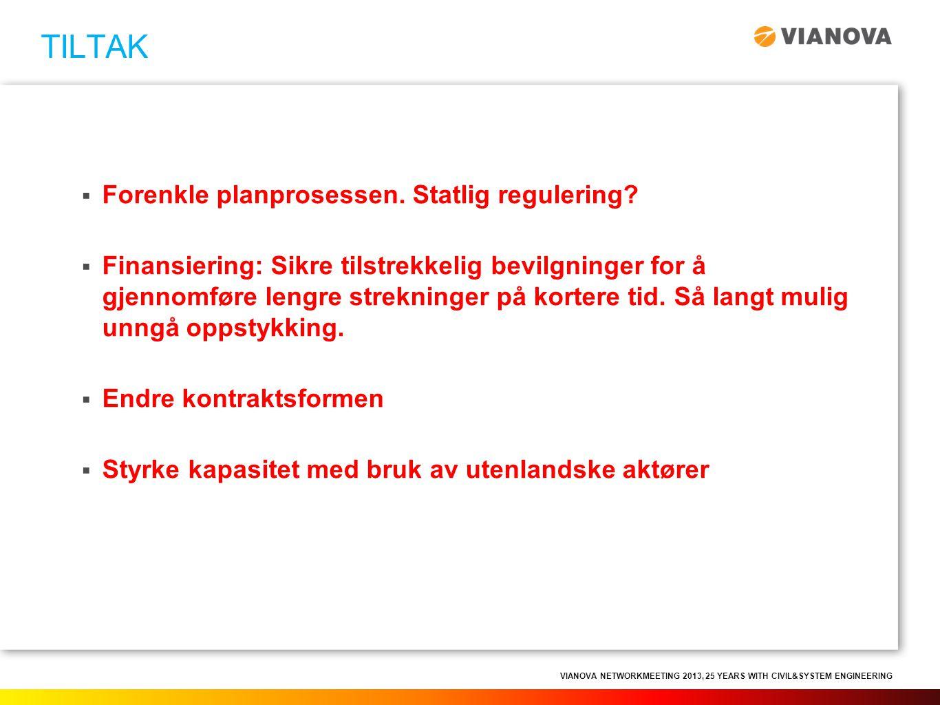 VIANOVA NETWORKMEETING 2013, 25 YEARS WITH CIVIL&SYSTEM ENGINEERING  Forenkle planprosessen. Statlig regulering?  Finansiering: Sikre tilstrekkelig
