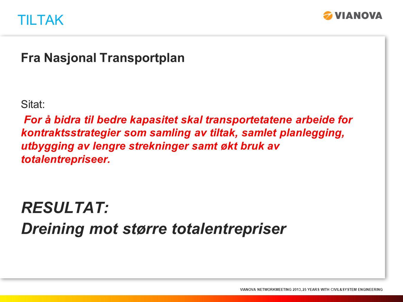 VIANOVA NETWORKMEETING 2013, 25 YEARS WITH CIVIL&SYSTEM ENGINEERING Fra Nasjonal Transportplan Sitat: For å bidra til bedre kapasitet skal transportet