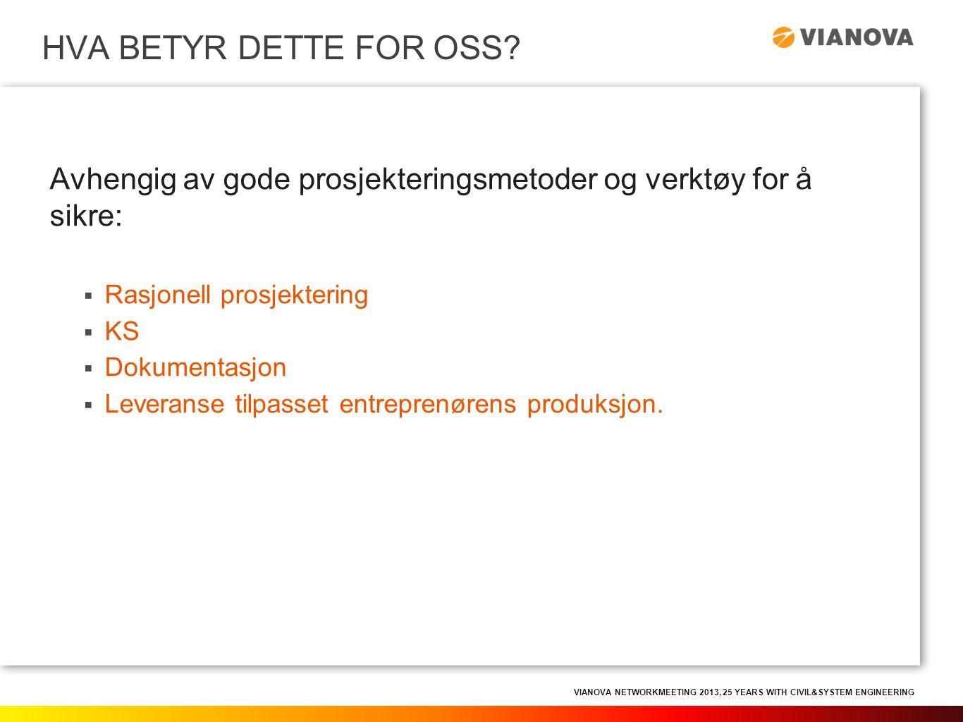 VIANOVA NETWORKMEETING 2013, 25 YEARS WITH CIVIL&SYSTEM ENGINEERING Avhengig av gode prosjekteringsmetoder og verktøy for å sikre:  Rasjonell prosjek
