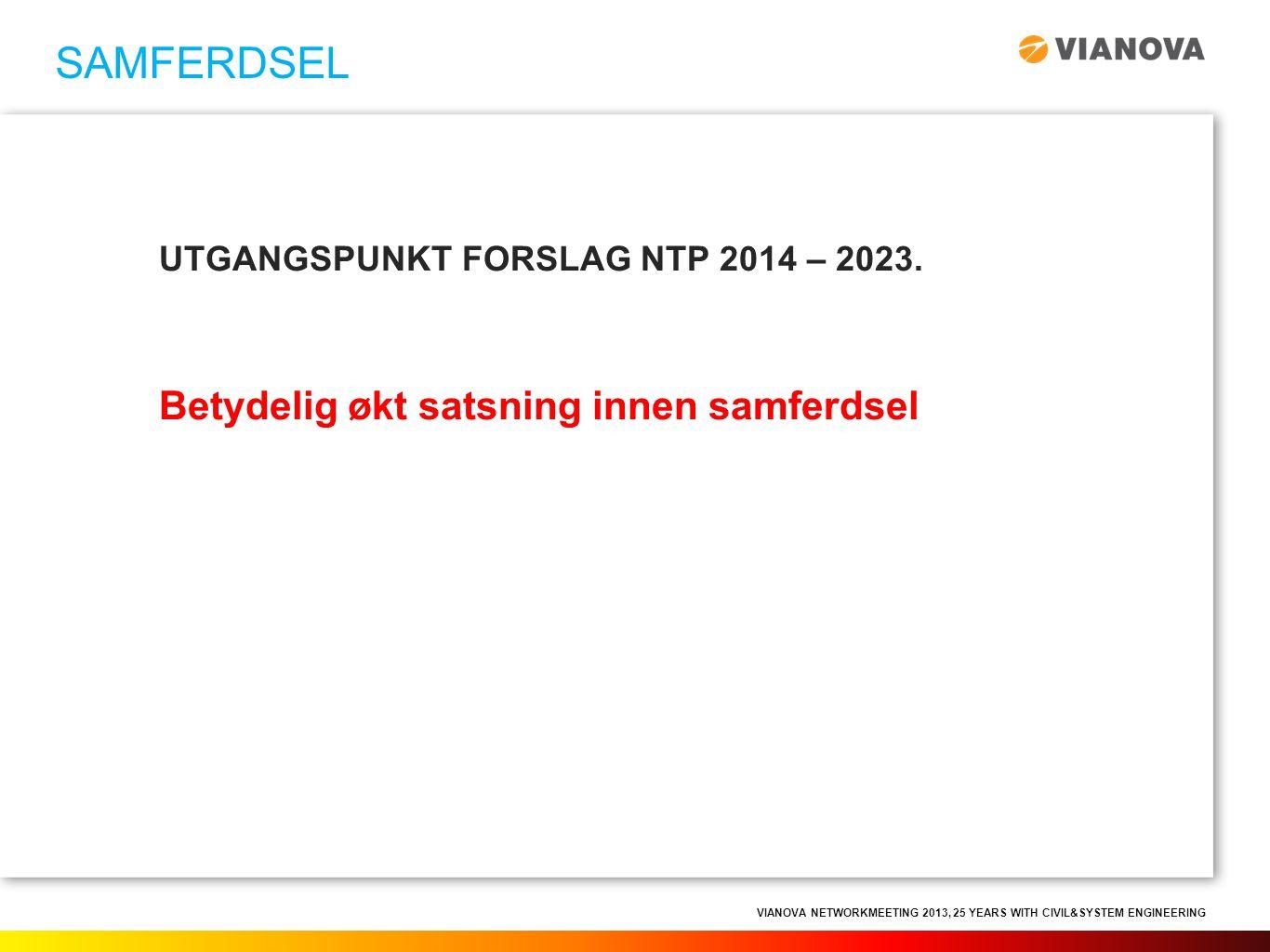 VIANOVA NETWORKMEETING 2013, 25 YEARS WITH CIVIL&SYSTEM ENGINEERING UTGANGSPUNKT FORSLAG NTP 2014 – 2023. Betydelig økt satsning innen samferdsel SAMF