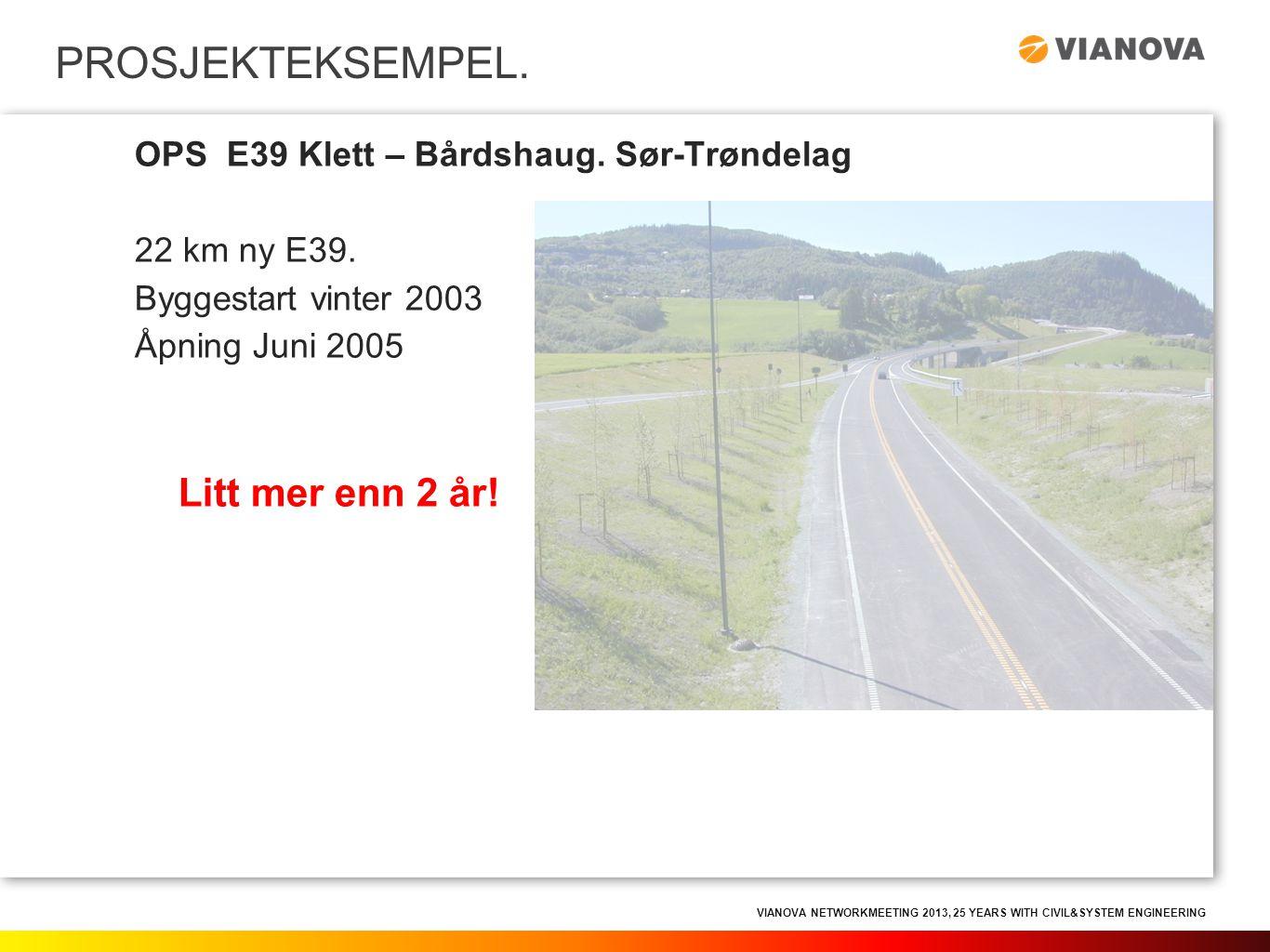 VIANOVA NETWORKMEETING 2013, 25 YEARS WITH CIVIL&SYSTEM ENGINEERING PROSJEKTEKSEMPEL. OPS E39 Klett – Bårdshaug. Sør-Trøndelag 22 km ny E39. Byggestar