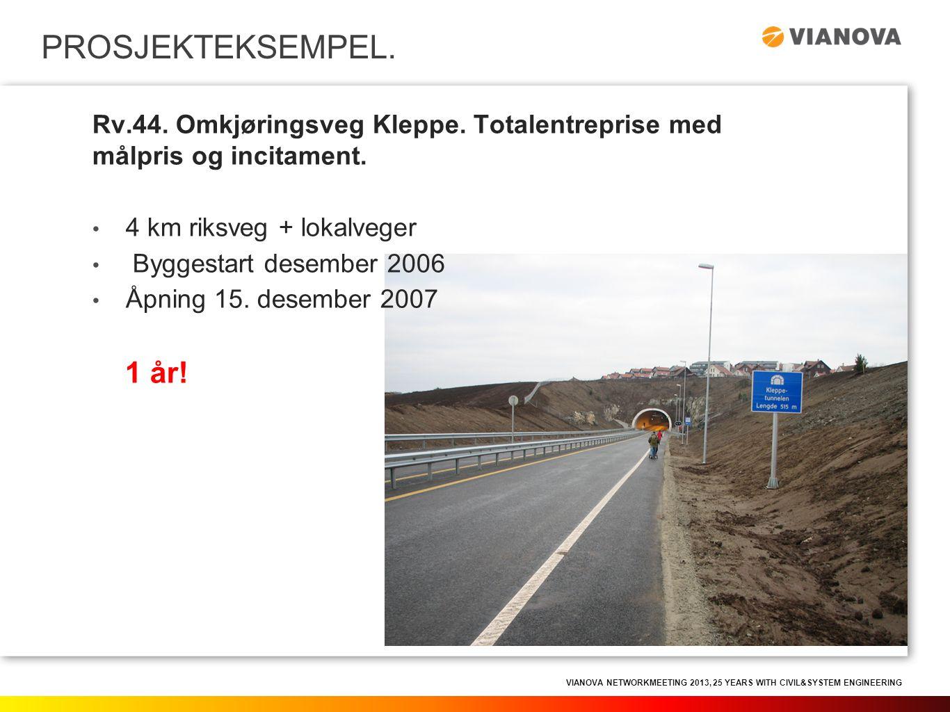 VIANOVA NETWORKMEETING 2013, 25 YEARS WITH CIVIL&SYSTEM ENGINEERING PROSJEKTEKSEMPEL. Rv.44. Omkjøringsveg Kleppe. Totalentreprise med målpris og inci