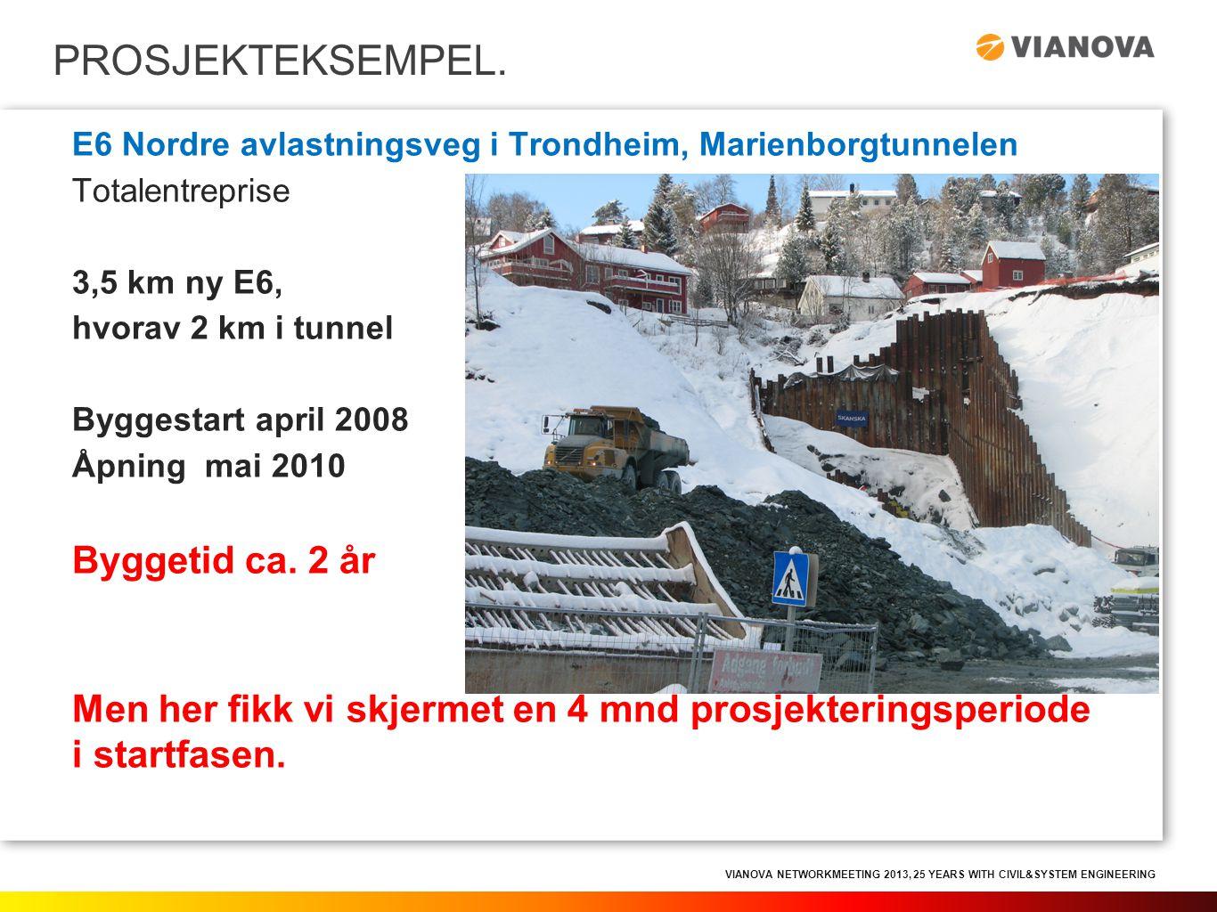 VIANOVA NETWORKMEETING 2013, 25 YEARS WITH CIVIL&SYSTEM ENGINEERING PROSJEKTEKSEMPEL. E6 Nordre avlastningsveg i Trondheim, Marienborgtunnelen Totalen