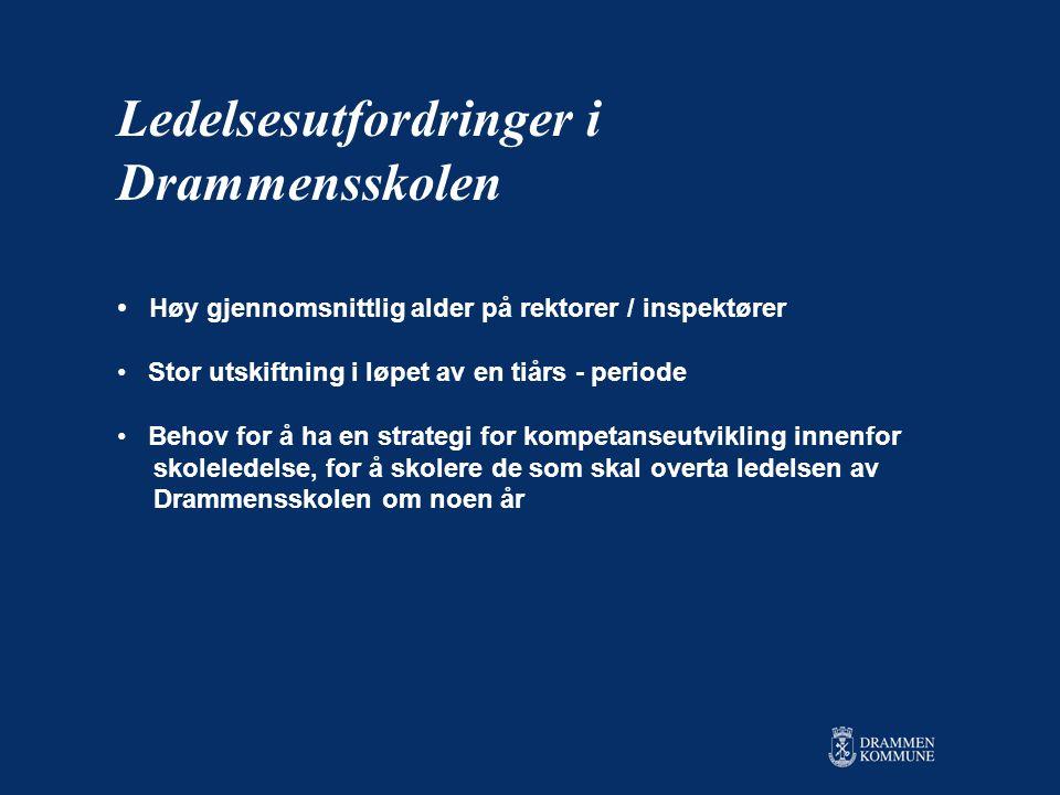 • Høy gjennomsnittlig alder på rektorer / inspektører • Stor utskiftning i løpet av en tiårs - periode • Behov for å ha en strategi for kompetanseutvikling innenfor skoleledelse, for å skolere de som skal overta ledelsen av Drammensskolen om noen år Ledelsesutfordringer i Drammensskolen