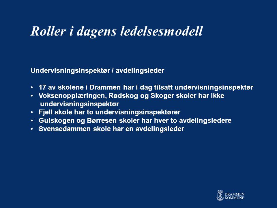 Undervisningsinspektør / avdelingsleder • 17 av skolene i Drammen har i dag tilsatt undervisningsinspektør • Voksenopplæringen, Rødskog og Skoger skoler har ikke undervisningsinspektør • Fjell skole har to undervisningsinspektører • Gulskogen og Børresen skoler har hver to avdelingsledere • Svensedammen skole har en avdelingsleder Roller i dagens ledelsesmodell