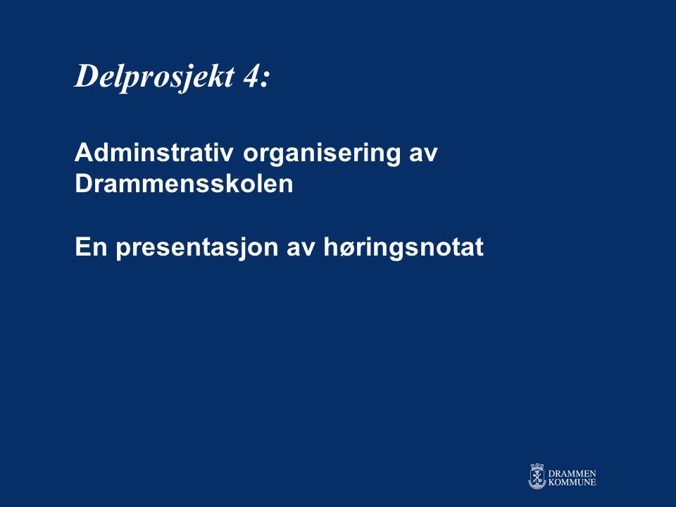 Delprosjekt 4: Adminstrativ organisering av Drammensskolen En presentasjon av høringsnotat