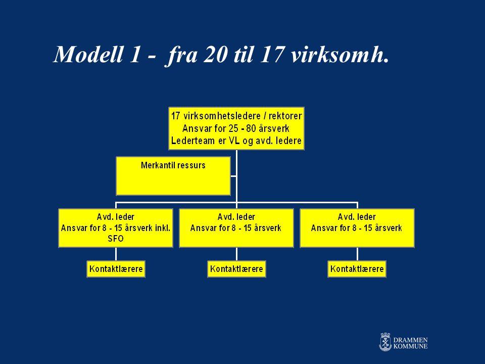 Modell 1 - fra 20 til 17 virksomh.