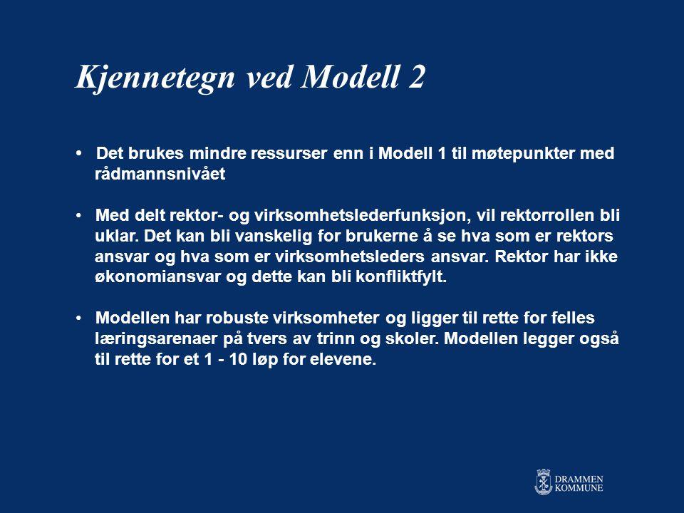 • Det brukes mindre ressurser enn i Modell 1 til møtepunkter med rådmannsnivået • Med delt rektor- og virksomhetslederfunksjon, vil rektorrollen bli uklar.