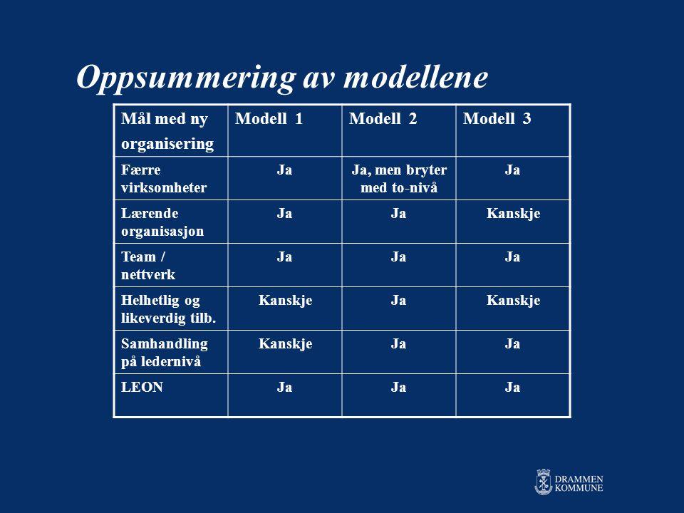 Oppsummering av modellene Mål med ny organisering Modell 1Modell 2Modell 3 Færre virksomheter JaJa, men bryter med to-nivå Ja Lærende organisasjon Ja Kanskje Team / nettverk Ja Helhetlig og likeverdig tilb.