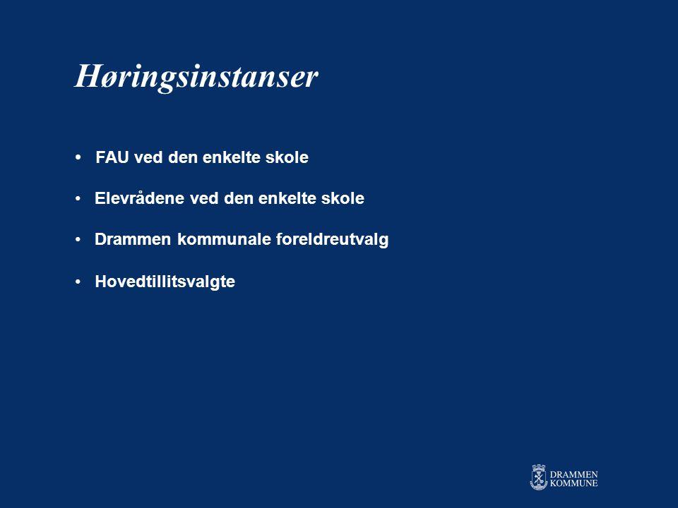 • FAU ved den enkelte skole • Elevrådene ved den enkelte skole • Drammen kommunale foreldreutvalg • Hovedtillitsvalgte Høringsinstanser