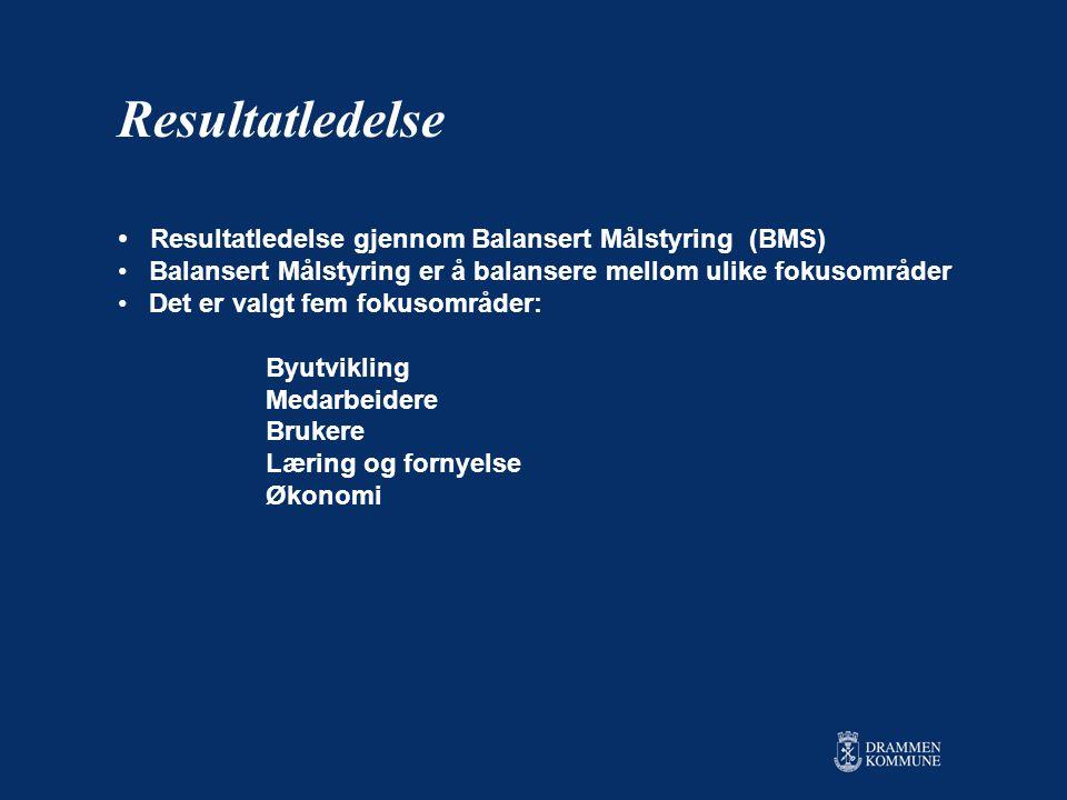 • Resultatledelse gjennom Balansert Målstyring (BMS) • Balansert Målstyring er å balansere mellom ulike fokusområder • Det er valgt fem fokusområder: Byutvikling Medarbeidere Brukere Læring og fornyelse Økonomi Resultatledelse