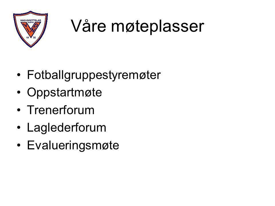 Våre møteplasser •Fotballgruppestyremøter •Oppstartmøte •Trenerforum •Laglederforum •Evalueringsmøte