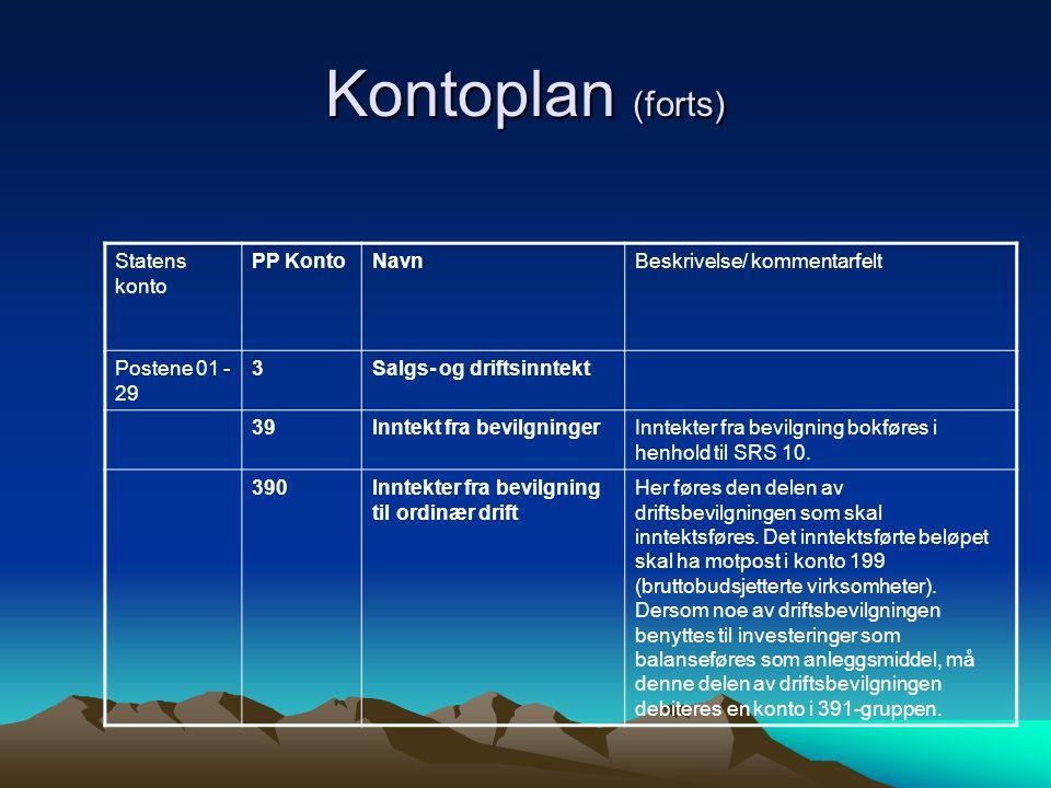 Kontoplan (forts) Statens konto PP KontoNavnBeskrivelse/ kommentarfelt Postene 01 - 29 3Salgs- og driftsinntekt 39Inntekt fra bevilgningerInntekter fra bevilgning bokføres i henhold til SRS 10.