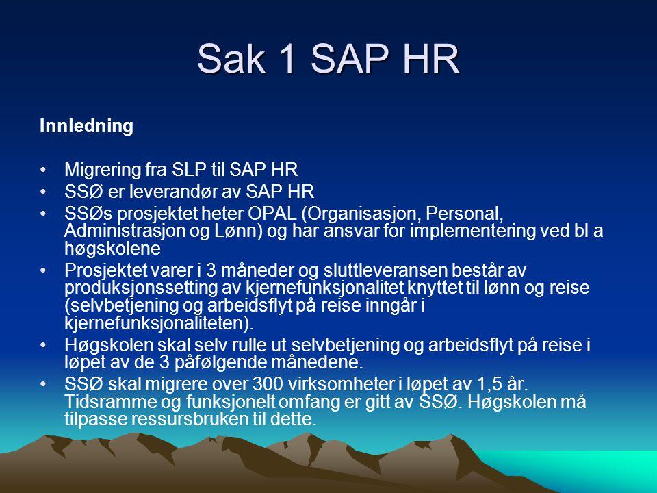 Sak 1 SAP HR Innledning •Migrering fra SLP til SAP HR •SSØ er leverandør av SAP HR •SSØs prosjektet heter OPAL (Organisasjon, Personal, Administrasjon og Lønn) og har ansvar for implementering ved bl a høgskolene •Prosjektet varer i 3 måneder og sluttleveransen består av produksjonssetting av kjernefunksjonalitet knyttet til lønn og reise (selvbetjening og arbeidsflyt på reise inngår i kjernefunksjonaliteten).