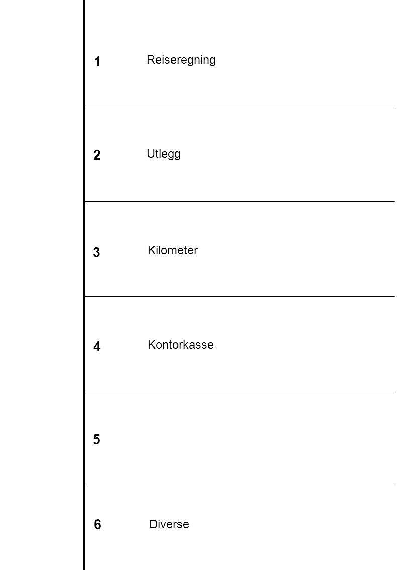 1 2 3 6 4 5 Reiseregning Utlegg Kilometer Kontorkasse Diverse