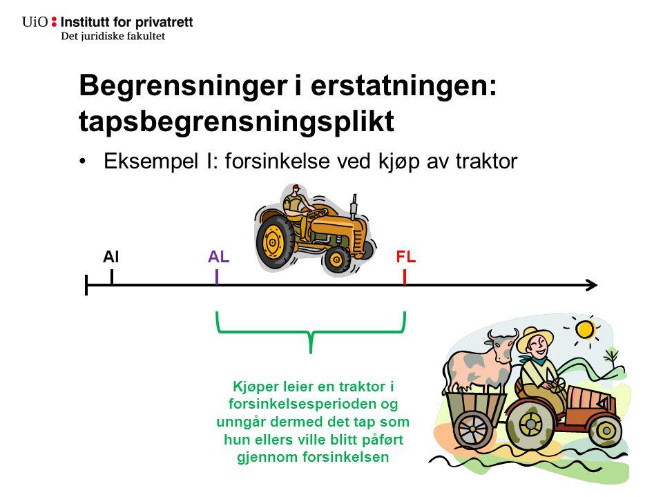 Begrensninger i erstatningen: tapsbegrensningsplikt •Eksempel I: forsinkelse ved kjøp av traktor AIALFL Kjøper leier en traktor i forsinkelsesperioden