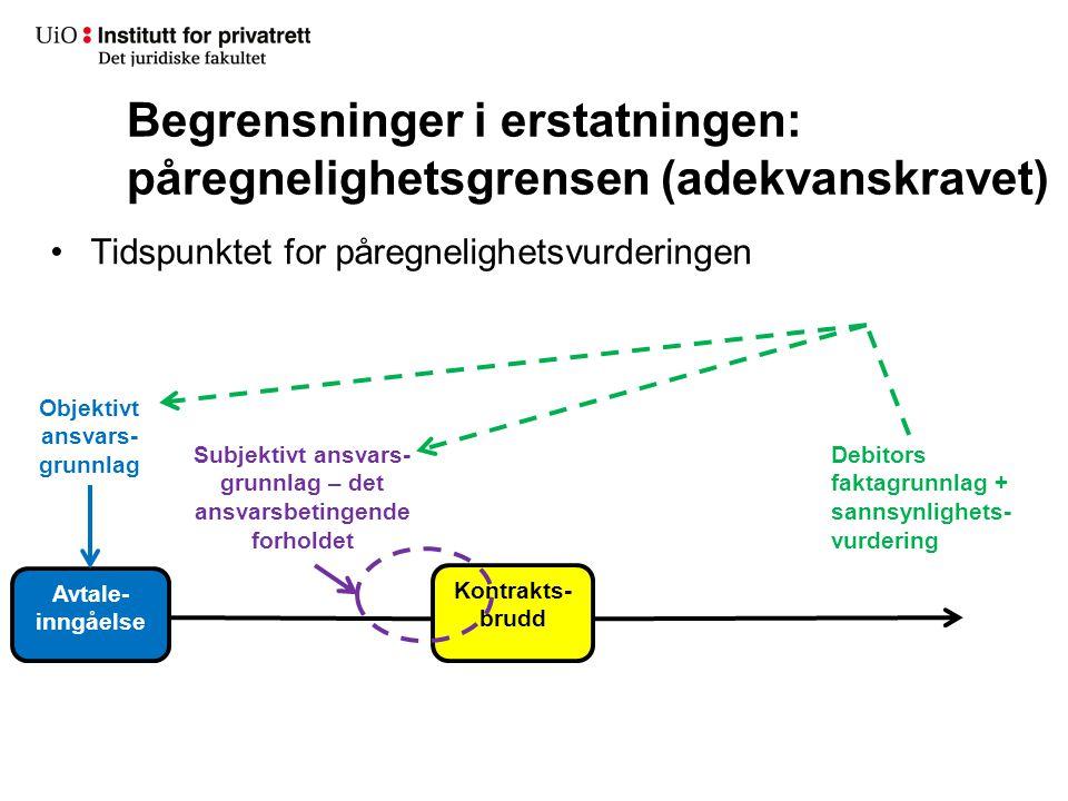 Begrensninger i erstatningen: påregnelighetsgrensen (adekvanskravet) •Tidspunktet for påregnelighetsvurderingen Debitors faktagrunnlag + sannsynlighet