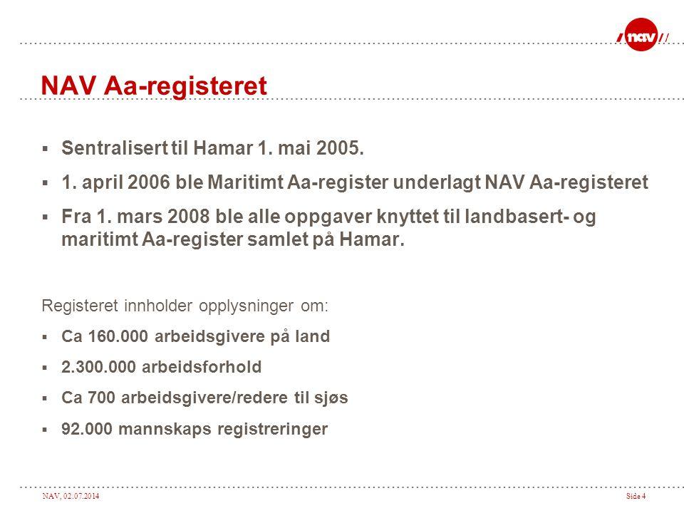 NAV, 02.07.2014Side 4 NAV Aa-registeret  Sentralisert til Hamar 1. mai 2005.  1. april 2006 ble Maritimt Aa-register underlagt NAV Aa-registeret  F