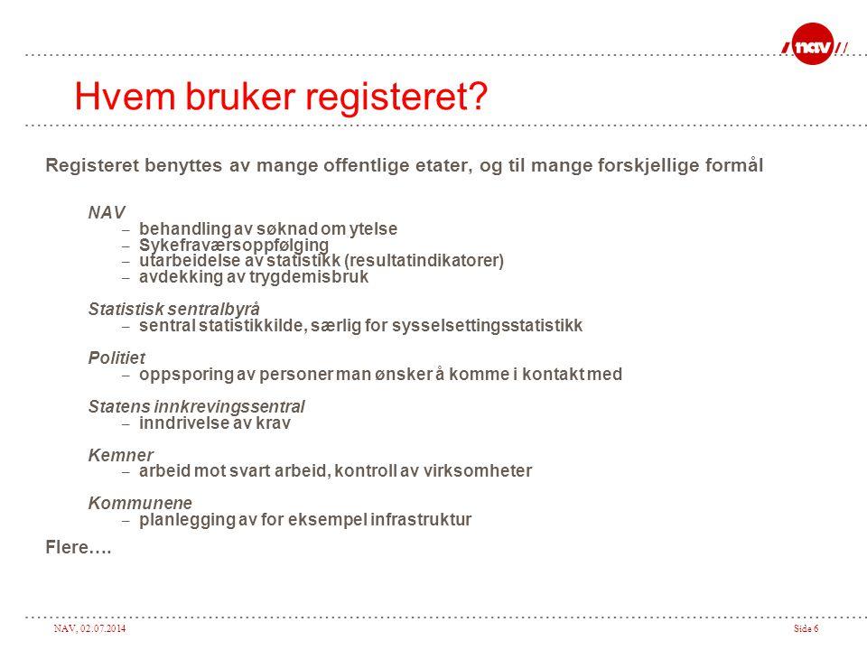 NAV, 02.07.2014Side 6 Hvem bruker registeret? Registeret benyttes av mange offentlige etater, og til mange forskjellige formål NAV – behandling av søk