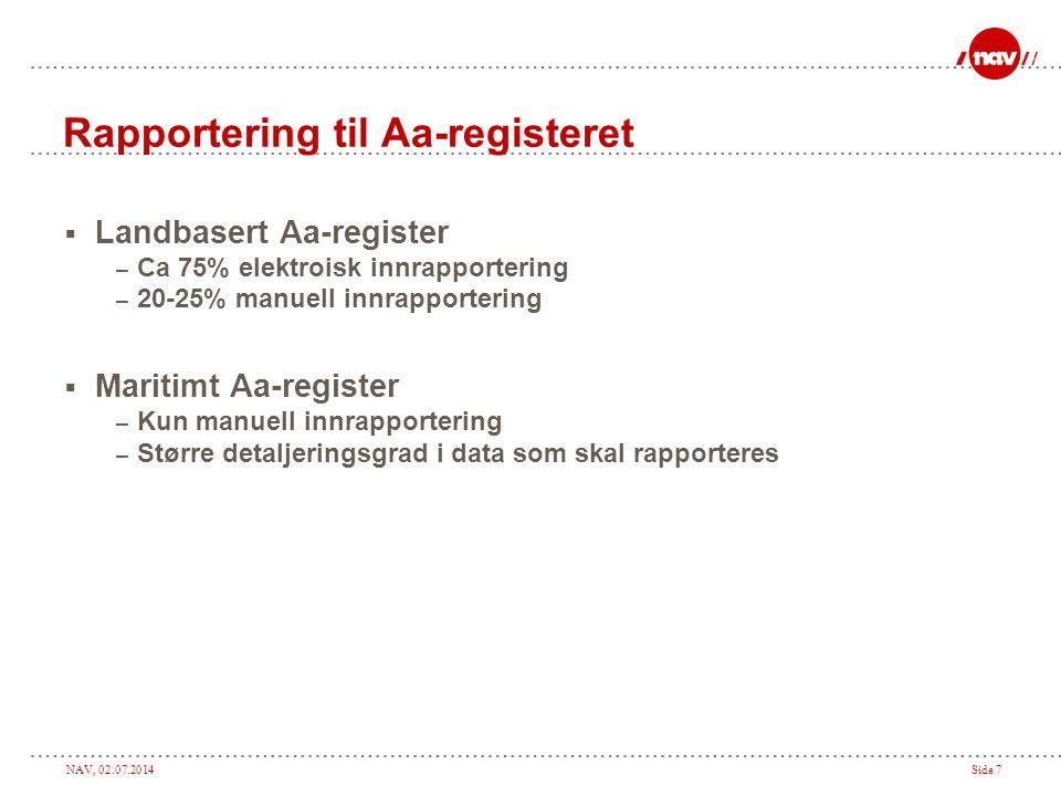 NAV, 02.07.2014Side 7 Rapportering til Aa-registeret  Landbasert Aa-register – Ca 75% elektroisk innrapportering – 20-25% manuell innrapportering  M