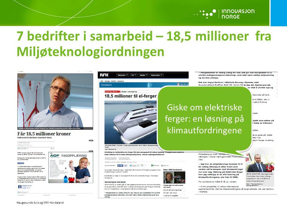 7 bedrifter i samarbeid – 18,5 millioner fra Miljøteknologiordningen Haugesunds Avis og NRK Hordaland Giske om elektriske ferger: en løsning på klimau