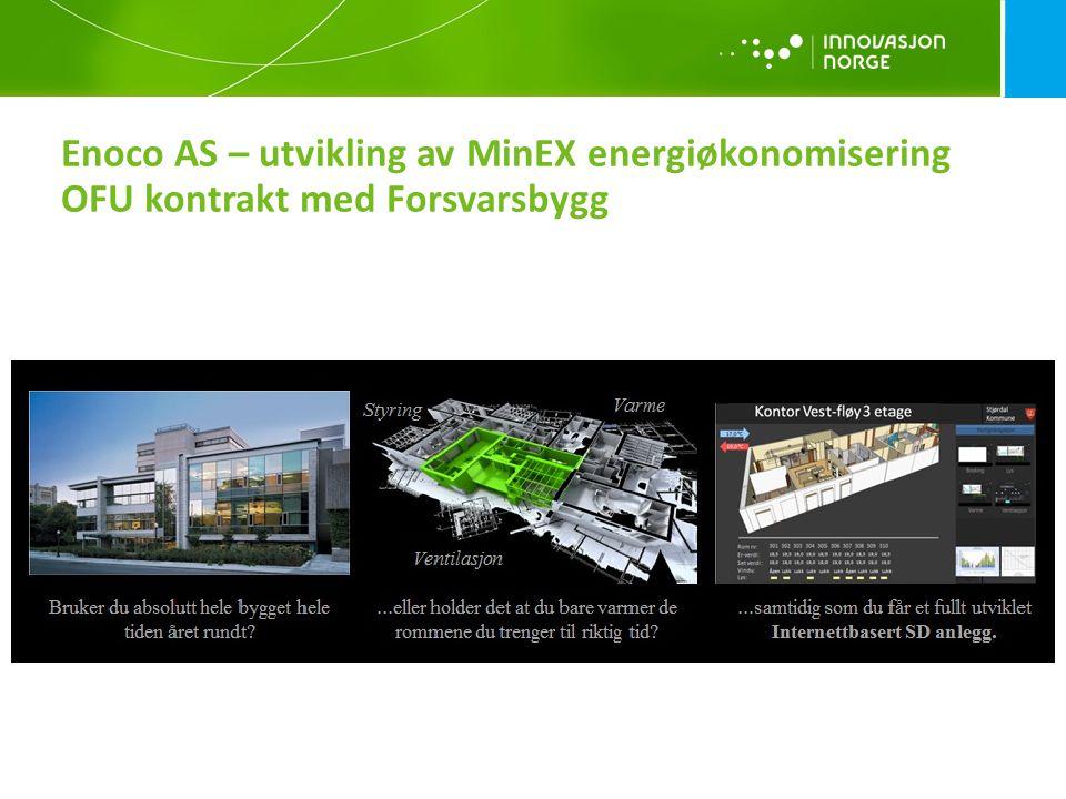 Enoco AS – utvikling av MinEX energiøkonomisering OFU kontrakt med Forsvarsbygg