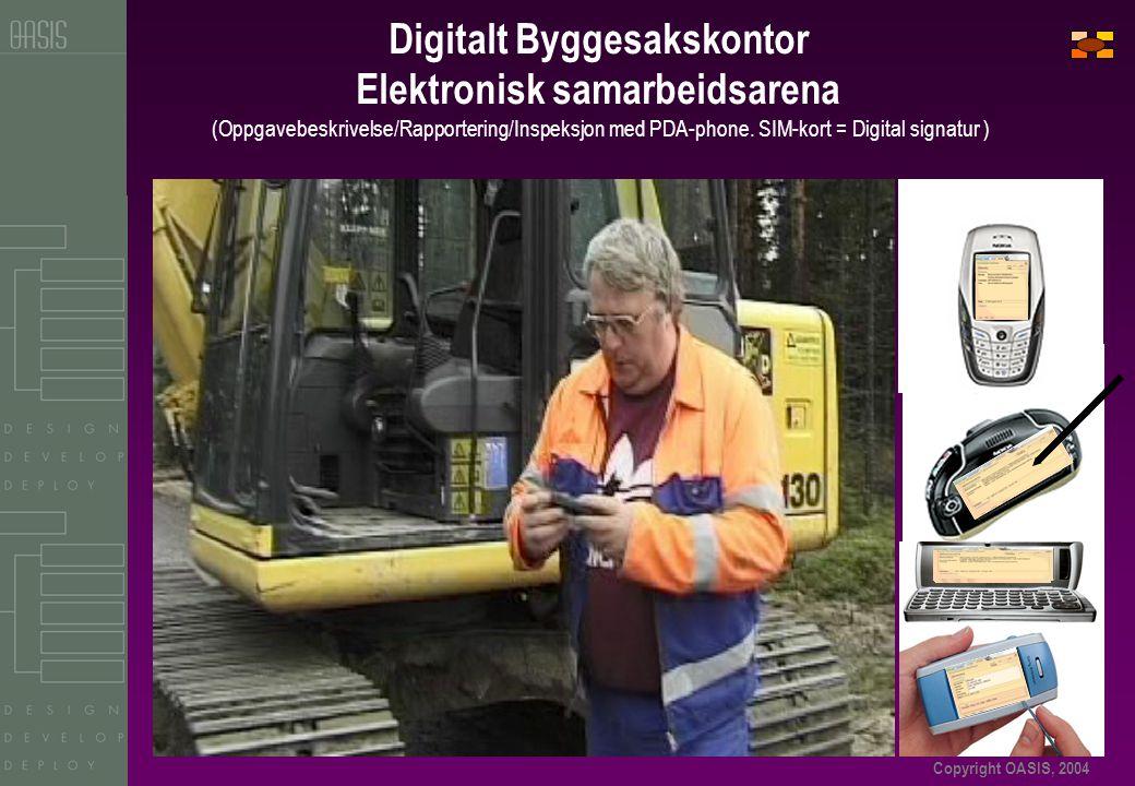 Copyright OASIS, 2004 Digitalt Byggesakskontor Elektronisk samarbeidsarena (Oppgavebeskrivelse/Rapportering/Inspeksjon med PDA-phone.