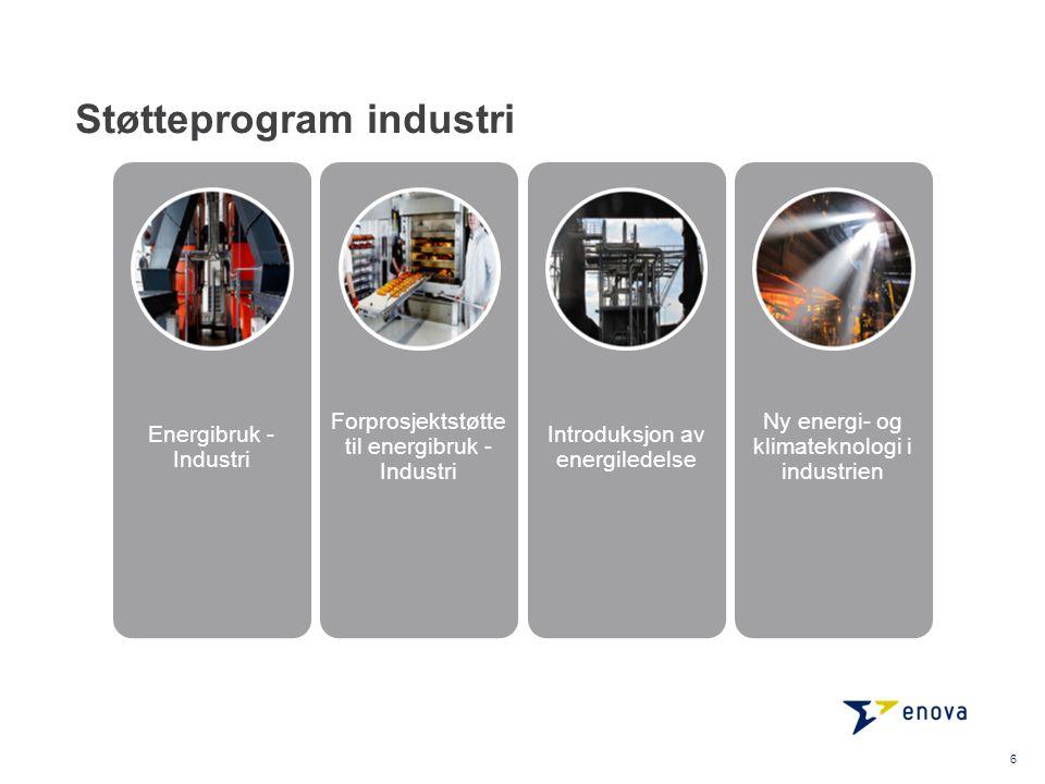 Støtteprogram industri 6 Energibruk - Industri Forprosjektstøtte til energibruk - Industri Introduksjon av energiledelse Ny energi- og klimateknologi i industrien