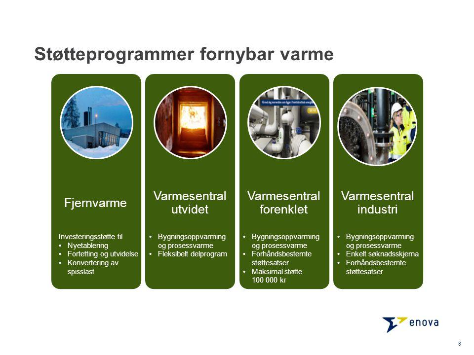 Støtteprogrammer fornybar varme 8 Fjernvarme Varmesentral utvidet Varmesentral forenklet Varmesentral industri •Bygningsoppvarming og prosessvarme •Enkelt søknadsskjema •Forhåndsbestemte støttesatser •Bygningsoppvarming og prosessvarme •Fleksibelt delprogram •Bygningsoppvarming og prosessvarme •Forhåndsbestemte støttesatser •Maksimal støtte 100 000 kr Investeringsstøtte til •Nyetablering •Fortetting og utvidelse •Konvertering av spisslast