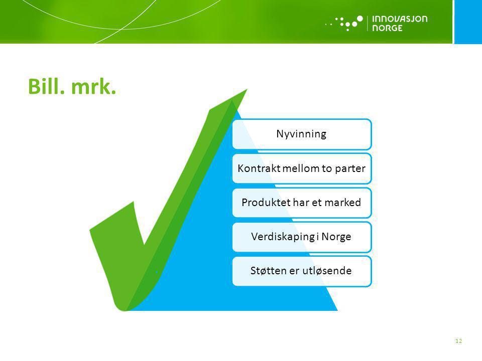 NyvinningKontrakt mellom to parterProduktet har et markedVerdiskaping i NorgeStøtten er utløsende Bill. mrk. 12