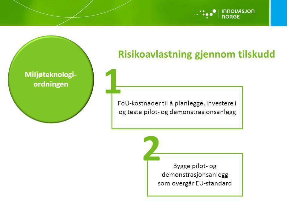 Risikoavlastning gjennom tilskudd Miljøteknologi- ordningen FoU-kostnader til å planlegge, investere i og teste pilot- og demonstrasjonsanlegg Bygge p