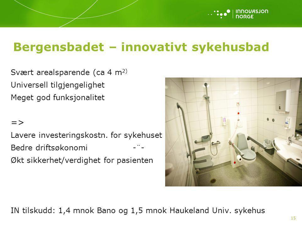 15 Bergensbadet – innovativt sykehusbad Svært arealsparende (ca 4 m 2) Universell tilgjengelighet Meget god funksjonalitet => Lavere investeringskostn