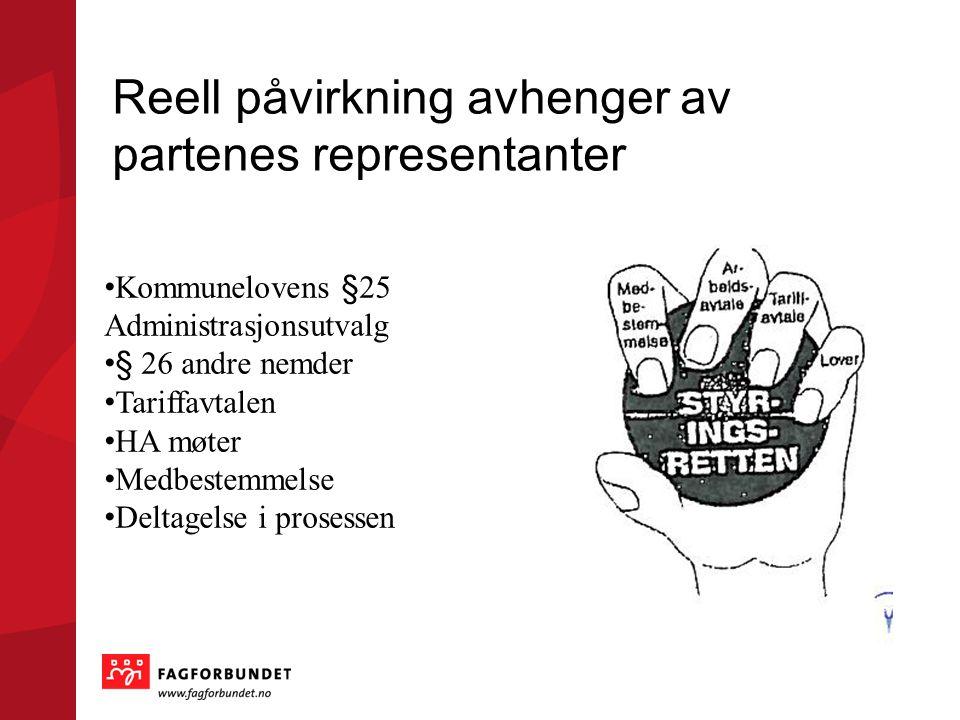 Reell påvirkning avhenger av partenes representanter • Kommunelovens §25 Administrasjonsutvalg • § 26 andre nemder • Tariffavtalen • HA møter • Medbes