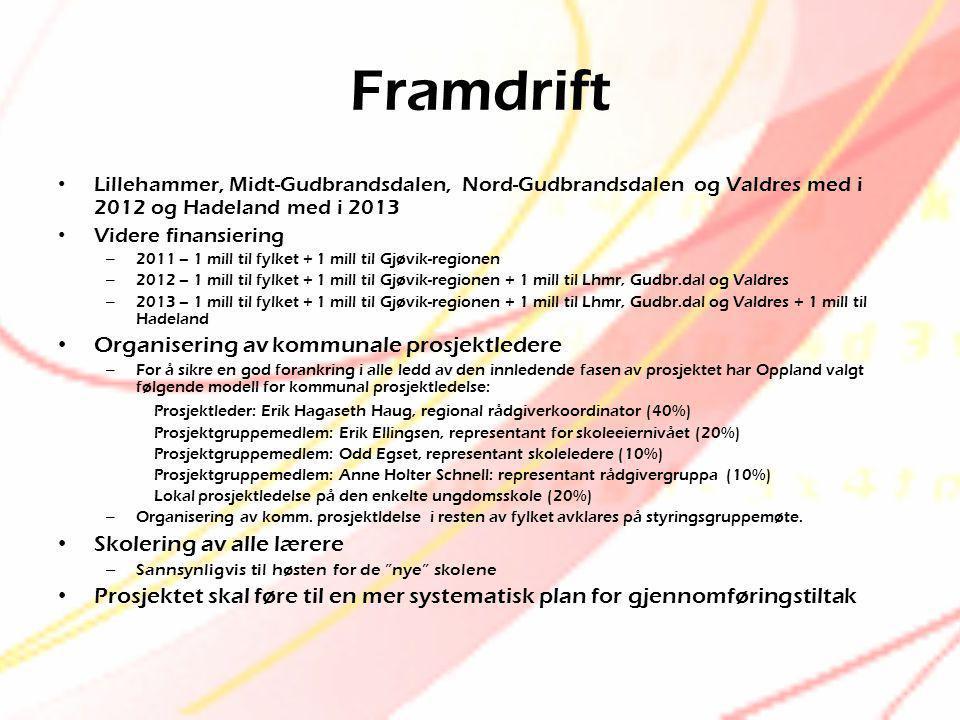 Framdrift • Lillehammer, Midt-Gudbrandsdalen, Nord-Gudbrandsdalen og Valdres med i 2012 og Hadeland med i 2013 • Videre finansiering – 2011 – 1 mill t