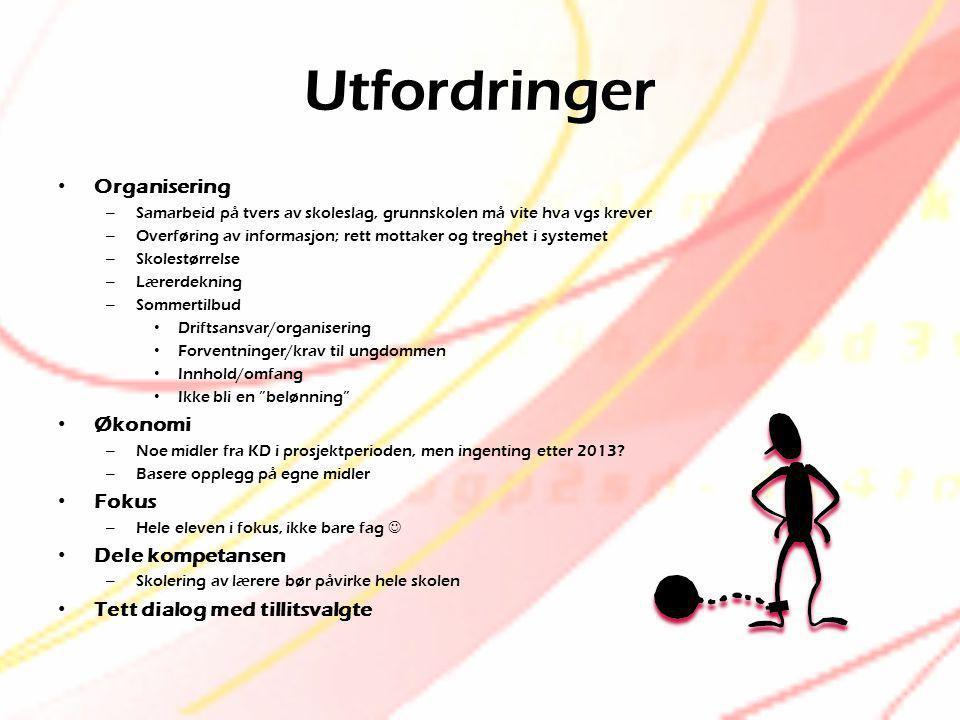 Utfordringer • Organisering – Samarbeid på tvers av skoleslag, grunnskolen må vite hva vgs krever – Overføring av informasjon; rett mottaker og treghe