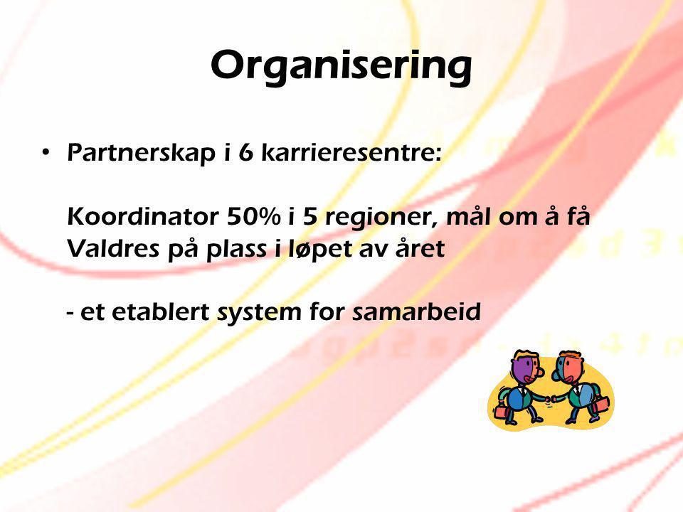 Organisering • Partnerskap i 6 karrieresentre: Koordinator 50% i 5 regioner, mål om å få Valdres på plass i løpet av året - et etablert system for sam