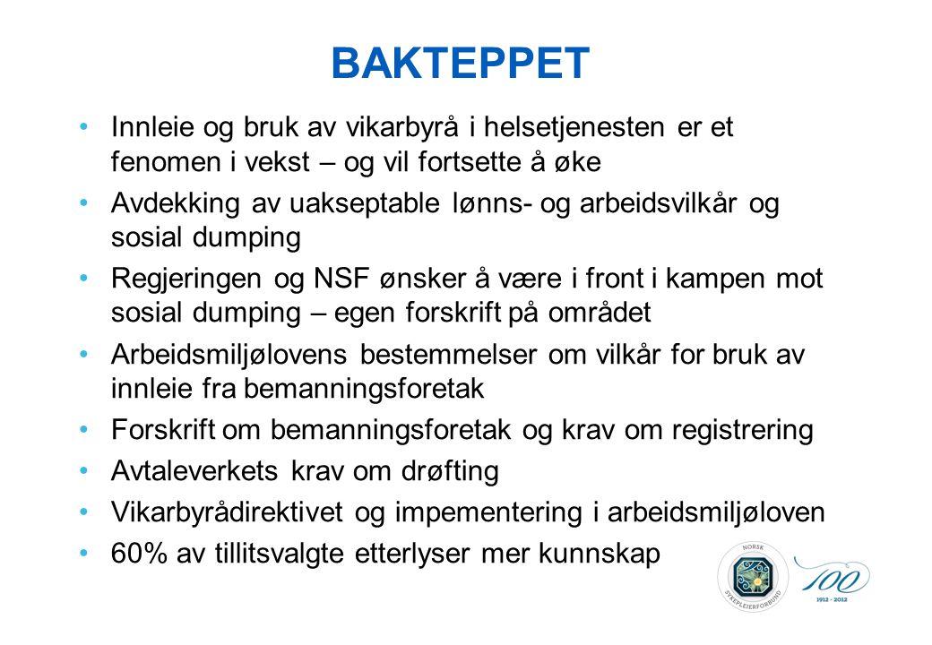 BAKTEPPET •Innleie og bruk av vikarbyrå i helsetjenesten er et fenomen i vekst – og vil fortsette å øke •Avdekking av uakseptable lønns- og arbeidsvil