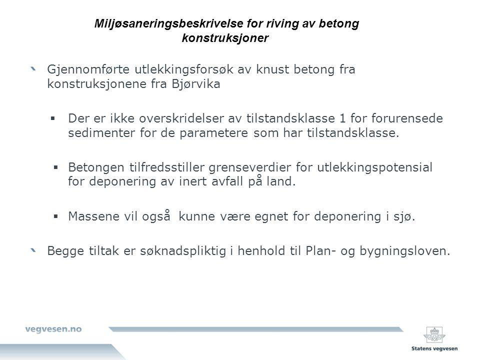 Gjennomførte utlekkingsforsøk av knust betong fra konstruksjonene fra Bjørvika  Der er ikke overskridelser av tilstandsklasse 1 for forurensede sedim
