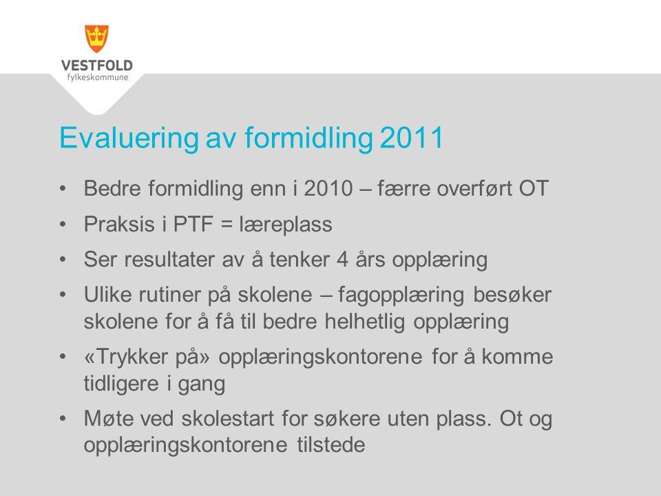 •Bedre formidling enn i 2010 – færre overført OT •Praksis i PTF = læreplass •Ser resultater av å tenker 4 års opplæring •Ulike rutiner på skolene – fa