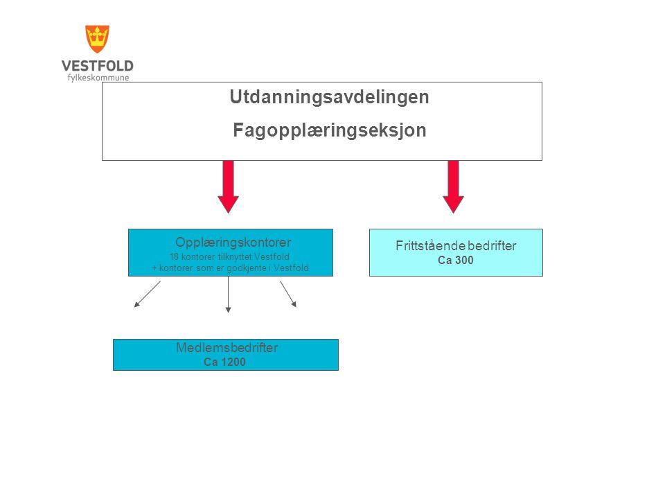 Utdanningsavdelingen Fagopplæringseksjon Opplæringskontorer 18 kontorer tilknyttet Vestfold + kontorer som er godkjente i Vestfold Medlemsbedrifter Ca