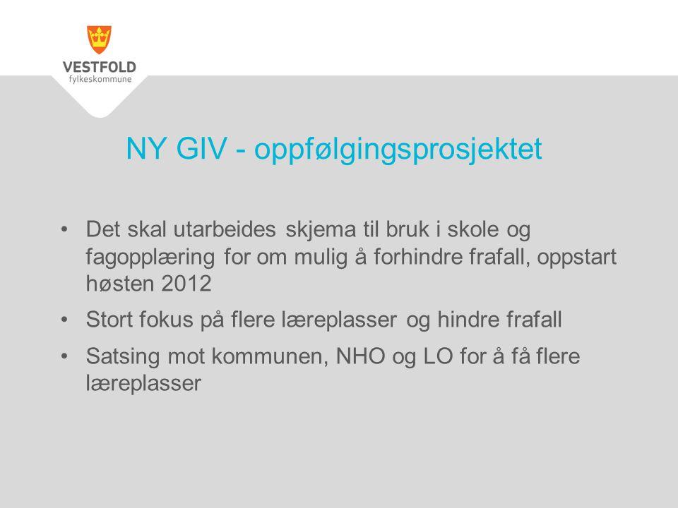 NY GIV - oppfølgingsprosjektet •Det skal utarbeides skjema til bruk i skole og fagopplæring for om mulig å forhindre frafall, oppstart høsten 2012 •St