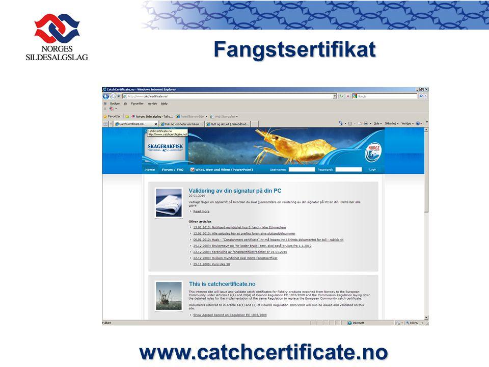 Fangstsertifikat www.catchcertificate.no