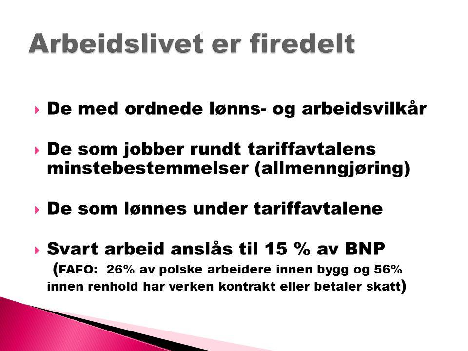  De med ordnede lønns- og arbeidsvilkår  De som jobber rundt tariffavtalens minstebestemmelser (allmenngjøring)  De som lønnes under tariffavtalene