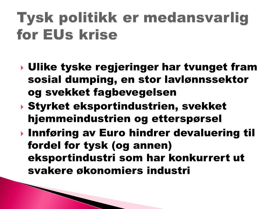  Avregulering og privatiseringer foregått lenge  EU har grunnlovsfestet de fire friheter og budsjettkrav der land kan ha maks.