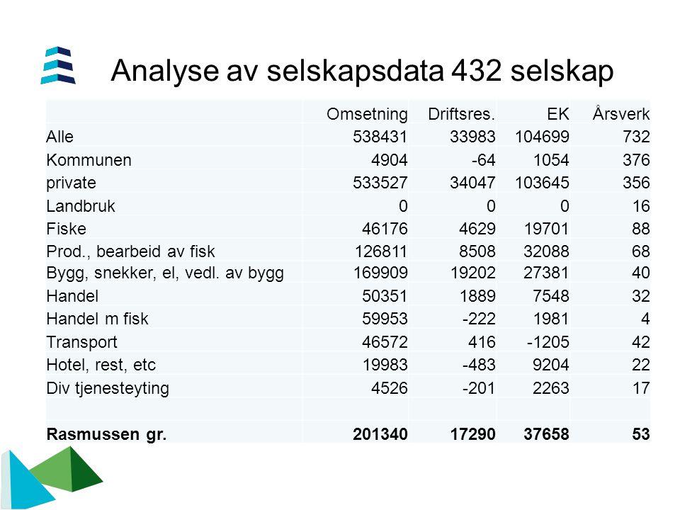 Analyse av selskapsdata 432 selskap OmsetningDriftsres.EKÅrsverk Alle53843133983104699732 Kommunen4904-641054376 private53352734047103645356 Landbruk0