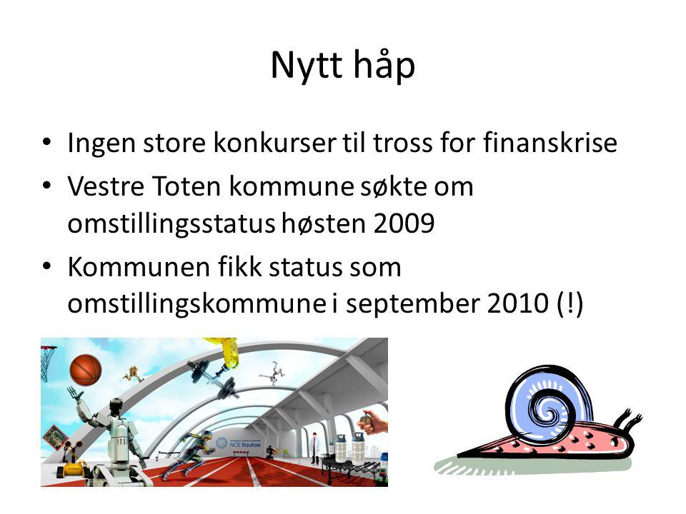 Nytt håp • Ingen store konkurser til tross for finanskrise • Vestre Toten kommune søkte om omstillingsstatus høsten 2009 • Kommunen fikk status som om