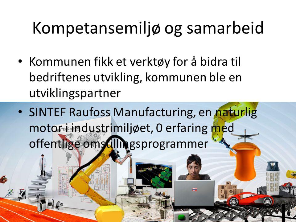 Kompetansemiljø og samarbeid • Kommunen fikk et verktøy for å bidra til bedriftenes utvikling, kommunen ble en utviklingspartner • SINTEF Raufoss Manu