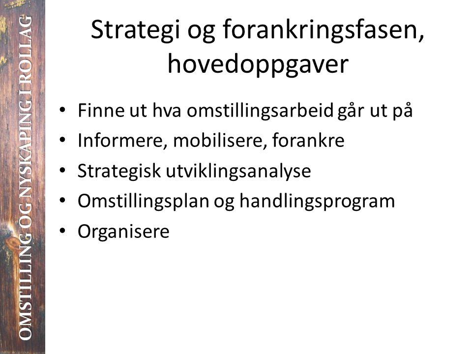 Strategi og forankringsfasen, hovedoppgaver • Finne ut hva omstillingsarbeid går ut på • Informere, mobilisere, forankre • Strategisk utviklingsanalys