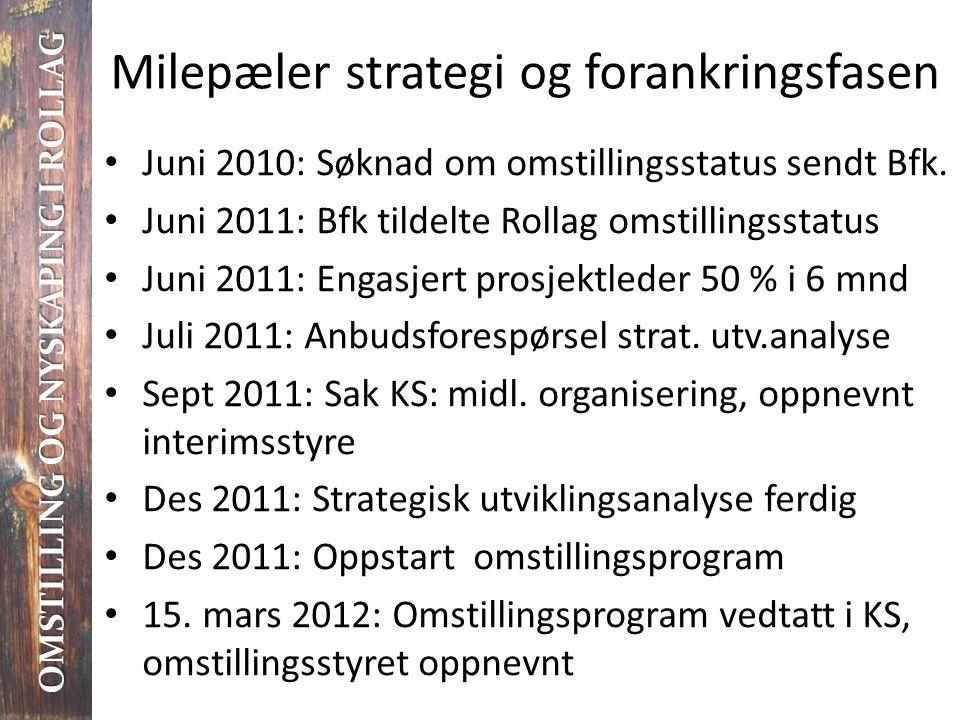 Milepæler strategi og forankringsfasen OMSTILLING OG NYSKAPING I ROLLAG • Juni 2010: Søknad om omstillingsstatus sendt Bfk. • Juni 2011: Bfk tildelte