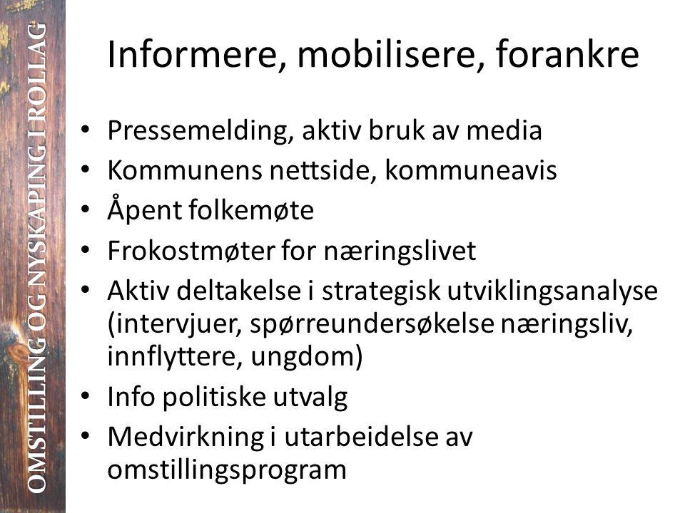 Informere, mobilisere, forankre • Pressemelding, aktiv bruk av media • Kommunens nettside, kommuneavis • Åpent folkemøte • Frokostmøter for næringsliv